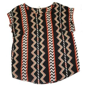 Tops - Orange and Green Aztec Print Top